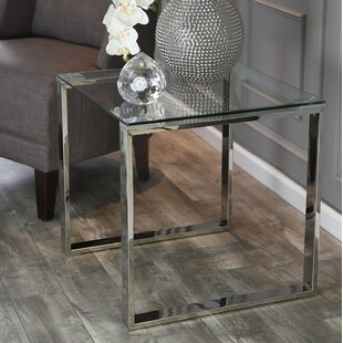 Sagebrook Home Stainless Steel and Glass End Table