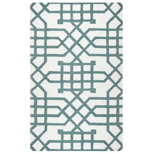 Angela Hand-Tufted Off White/Teal Indoor/Outdoor Area Rug
