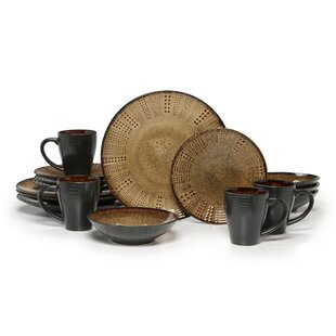 Linden 16 Piece Dinnerware Set Service for 4  sc 1 st  Wayfair & Organic Dinnerware | Wayfair