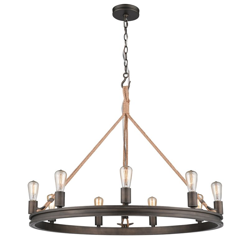 Longfellow 9-Light Wagon Wheel Chandelier