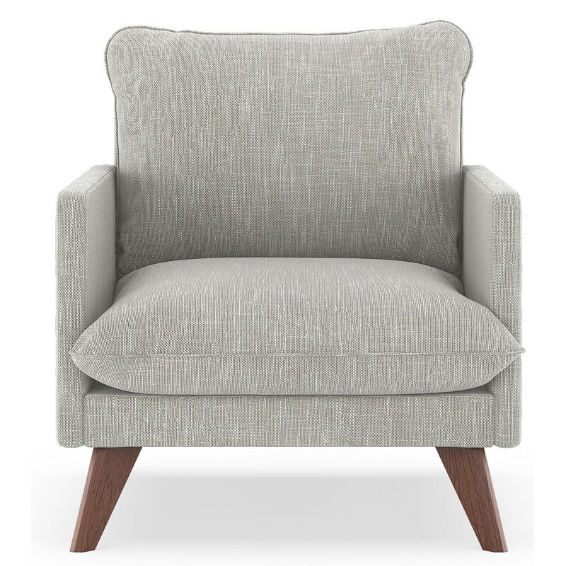17 Stories  Dillingham Armchair Upholstery: Cloud Gray, Finish: Walnut