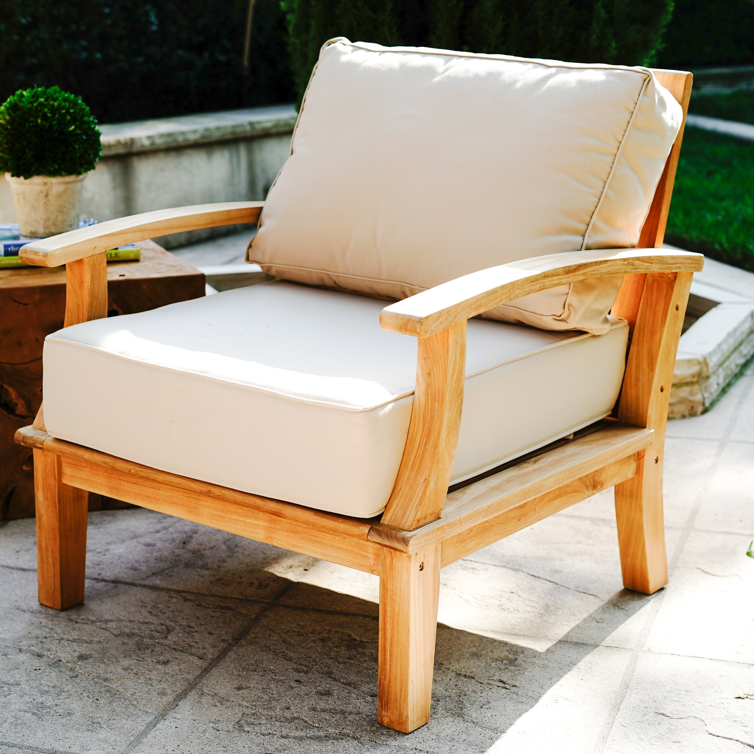 Rosecliff Heights Galvan Outdoor Teak Patio Chair With Cushion Wayfair