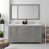 60 Double Bathroom Vanity Set with Mirror by Red Barrel Studio
