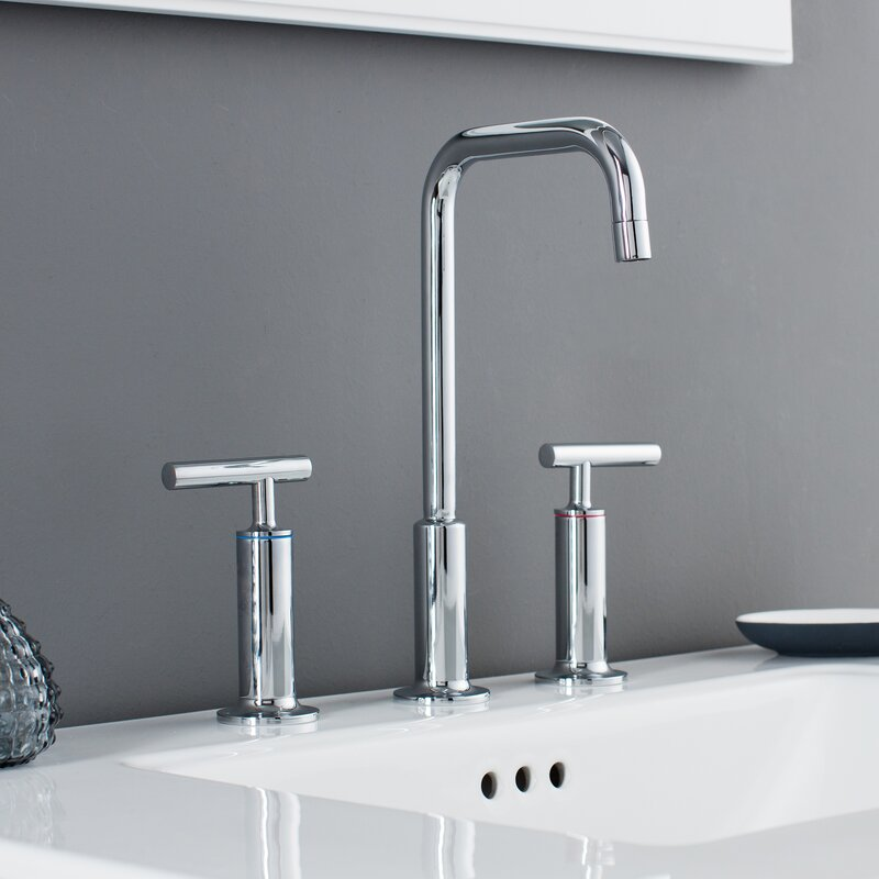 Prelude 3 Piece Widespread Wrist Blade Handle Bathroom Faucet Set