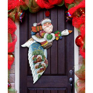 4d79af78f5a37 Old World Traveling Santa and Goose Holiday Door Wall Hanging Decor
