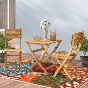 Les Outdoor 3 Piece Foldable Wood Bistro Set