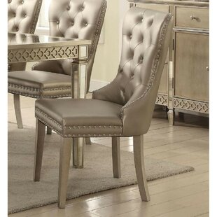 Wiens Upholstered Wingback Parsons Chair in Champagne Set of 2 by Rosdorf Park