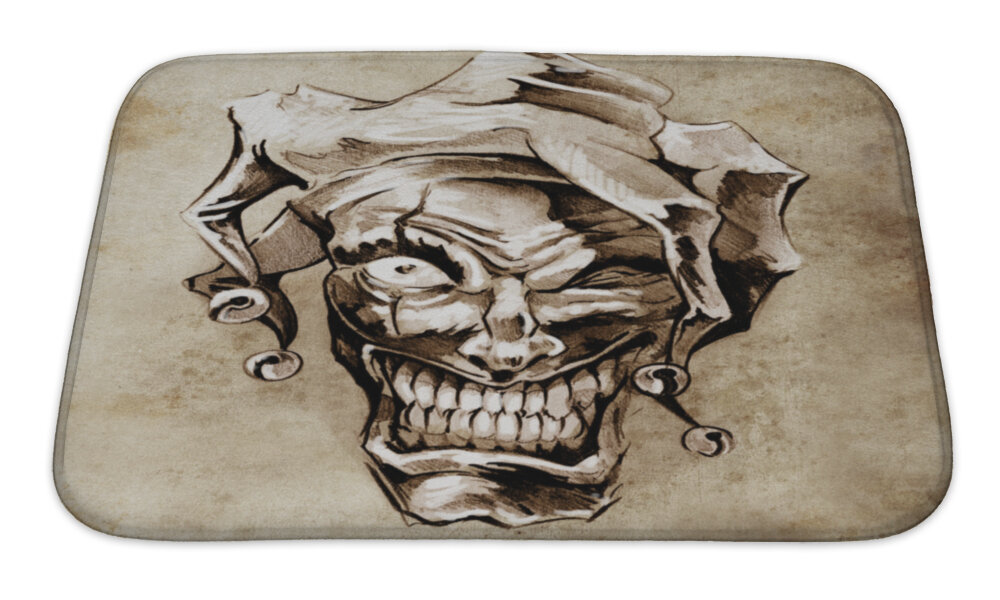 Gear New Danger Fantasy Clown Joker Sketch Of Tattoo Over Dirty Bath Rug Wayfair