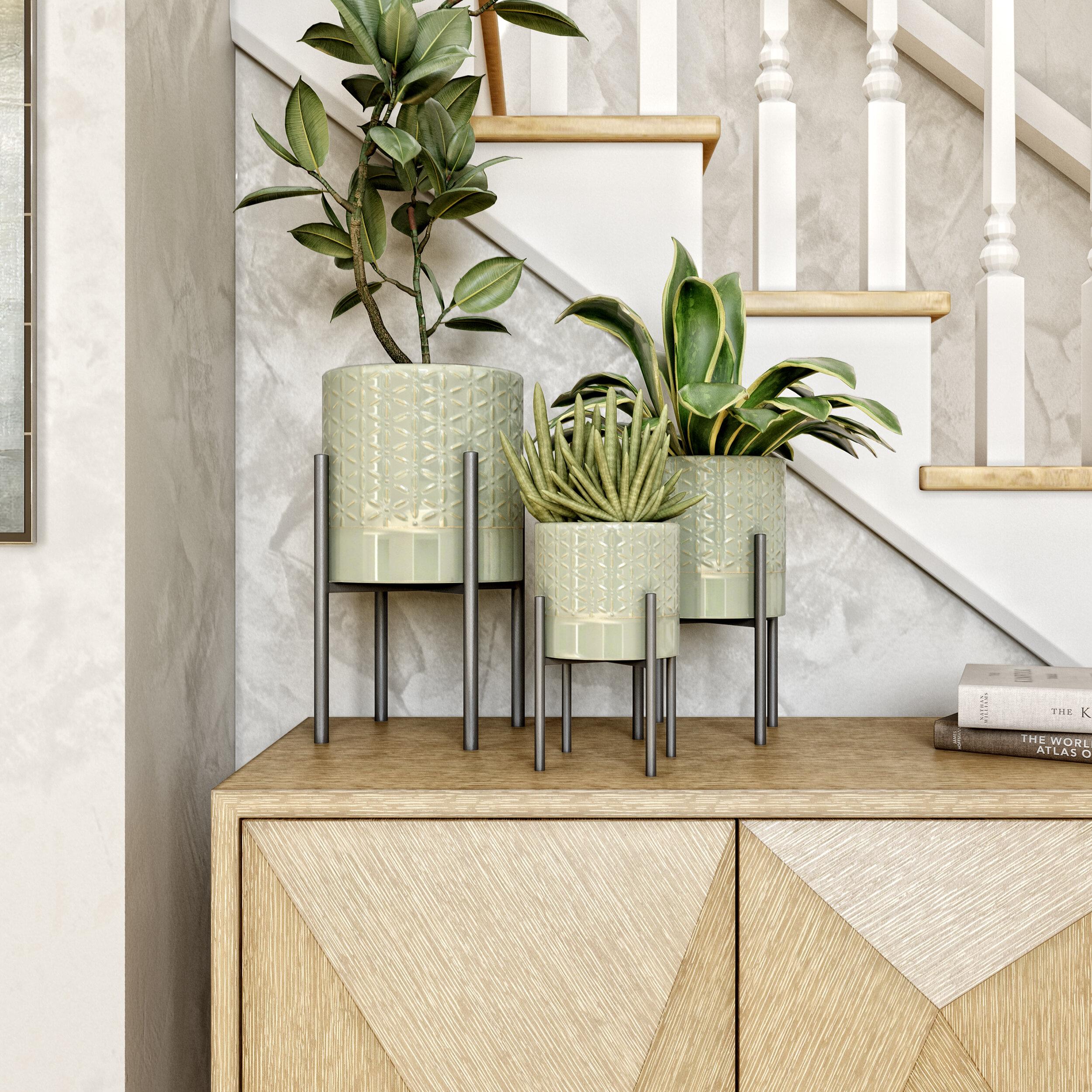 Mercury Row Adelia 3 Piece Metal Pot Planter Set Reviews Wayfair
