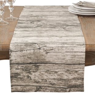 Ald Wood Plank Floor Pattern Cotton Table Runner