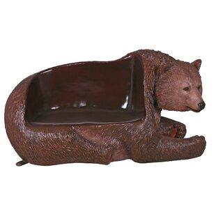 Brawny Grizzly Bear Garden Bench