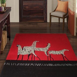 Riveria Wool Red/Black Area Rug ByWorld Menagerie