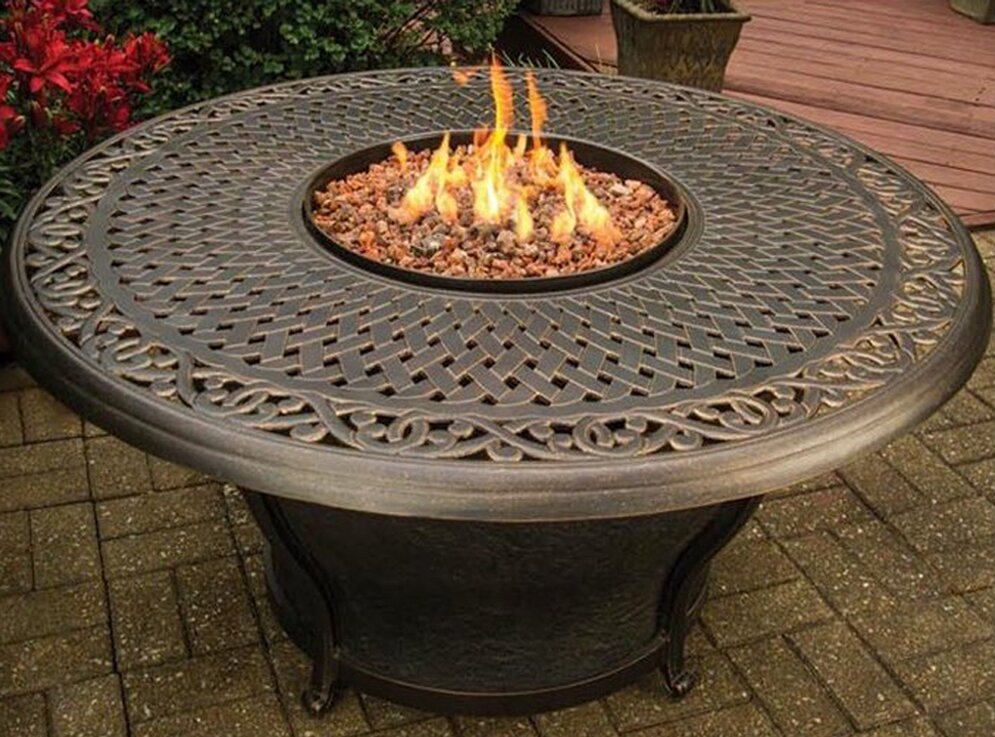 Superior Charleston Cast Top Aluminum Propane Gas Fire Pit Table