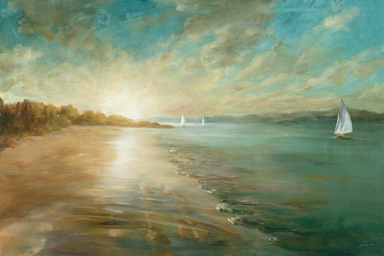 Three Posts Coastal Glow Painting Print On Wrapped Canvas Reviews Wayfair