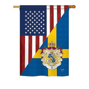 American Sweden Friendship 2-Sided Polyester 2'4 X 3'4 Ft Flag by Breeze Decor