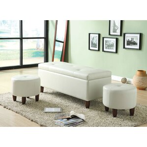 Ibrahim 3 Piece Storage Bench and Ottoman by ACME Furniture