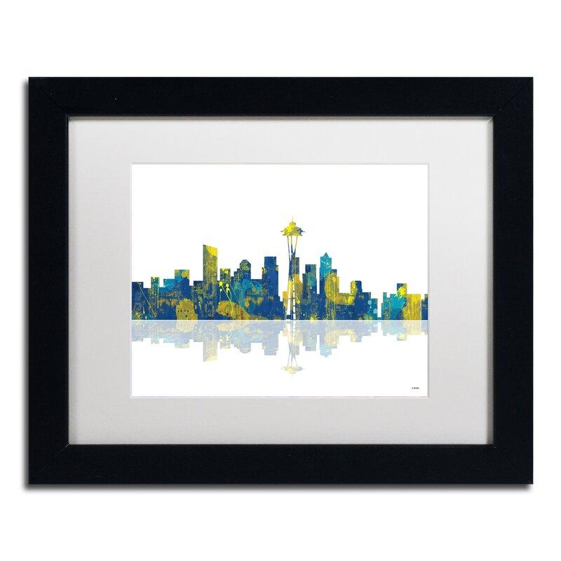 Trademark Art Seattle Washington Skyline Ii Framed Graphic Art On Canvas Wayfair