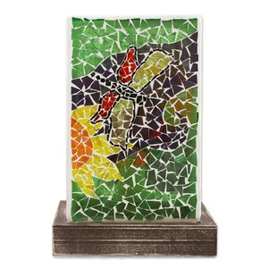Burntwood Dragonfly Country Glass Mosaic Accent 11 Table Lamp