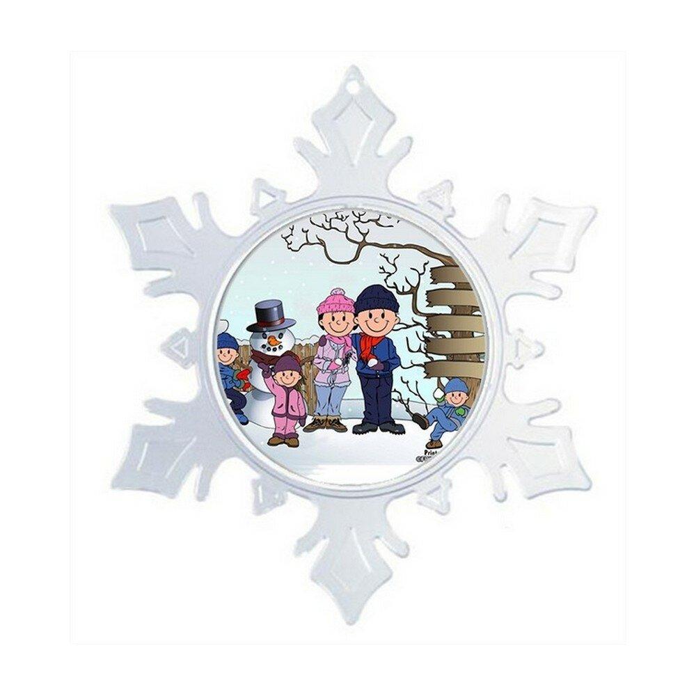 The Holiday Aisle Personalized Friendly Folks Cartoon Snowflake Snowman Family 2 Boys 1 Girl Christmas Holiday Shaped Ornament Wayfair