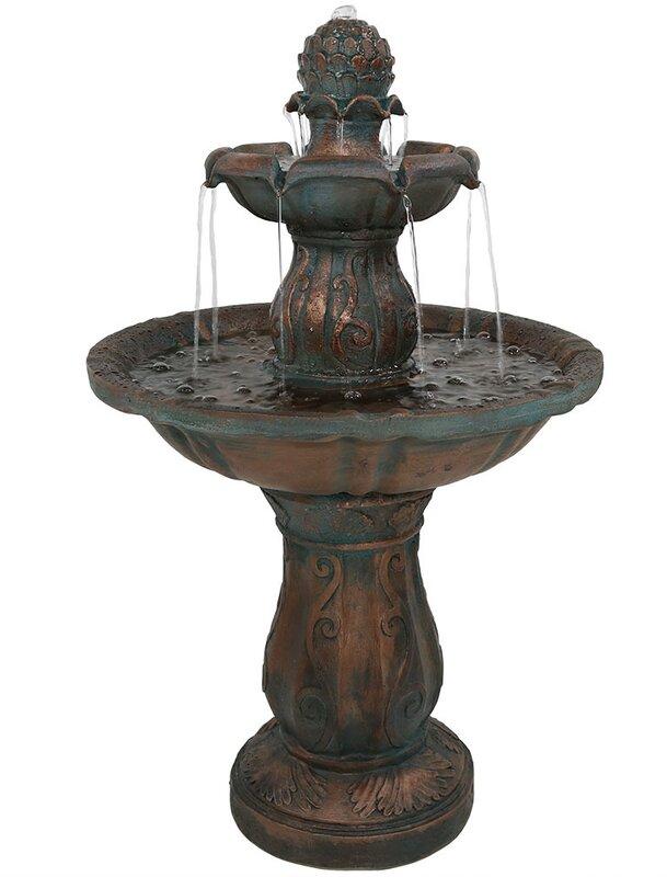 Fiberglass 2 Tier Patina Pineapple Garden Water Fountain