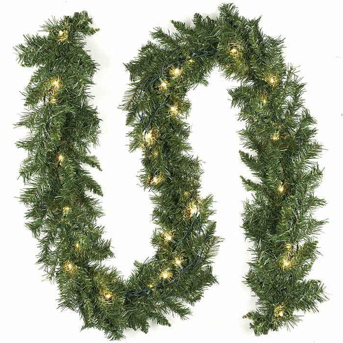 new style da4ee 7efa8 9' Christmas Decorations Artificial Pre-Lit Garland with 35 Clear Lights