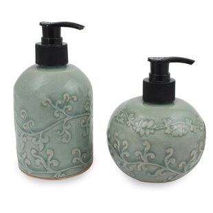 Bloomsbury Market Youmans Floral Ceramic 2 Piece Bathroom Accessory Set