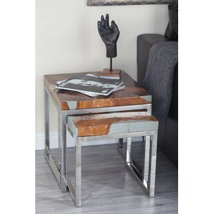 2 Piece Teak Aluminum End Table Set