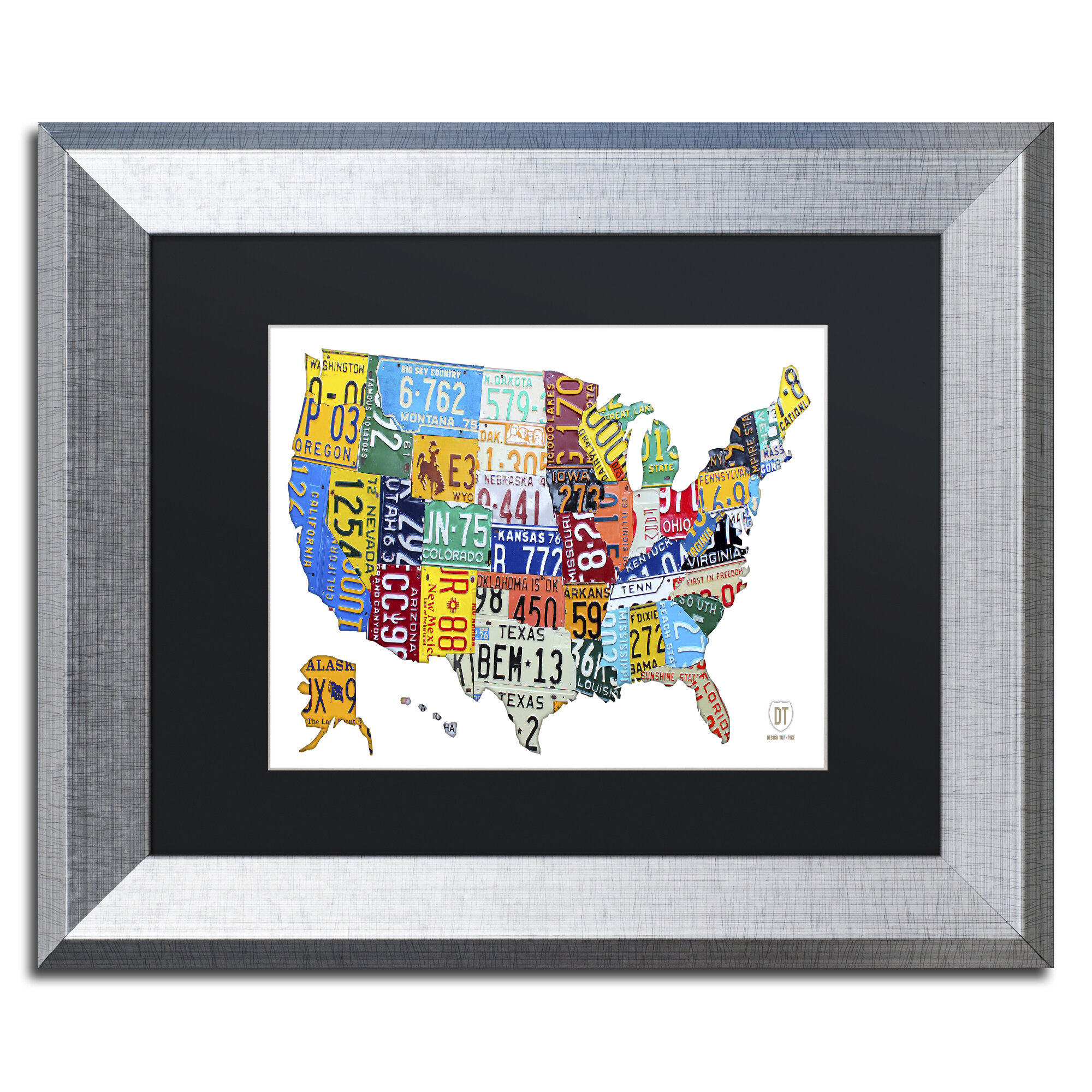 Latitude Run License Plate Map Usa 2 By Design Turnpike Framed Graphic Art Wayfair