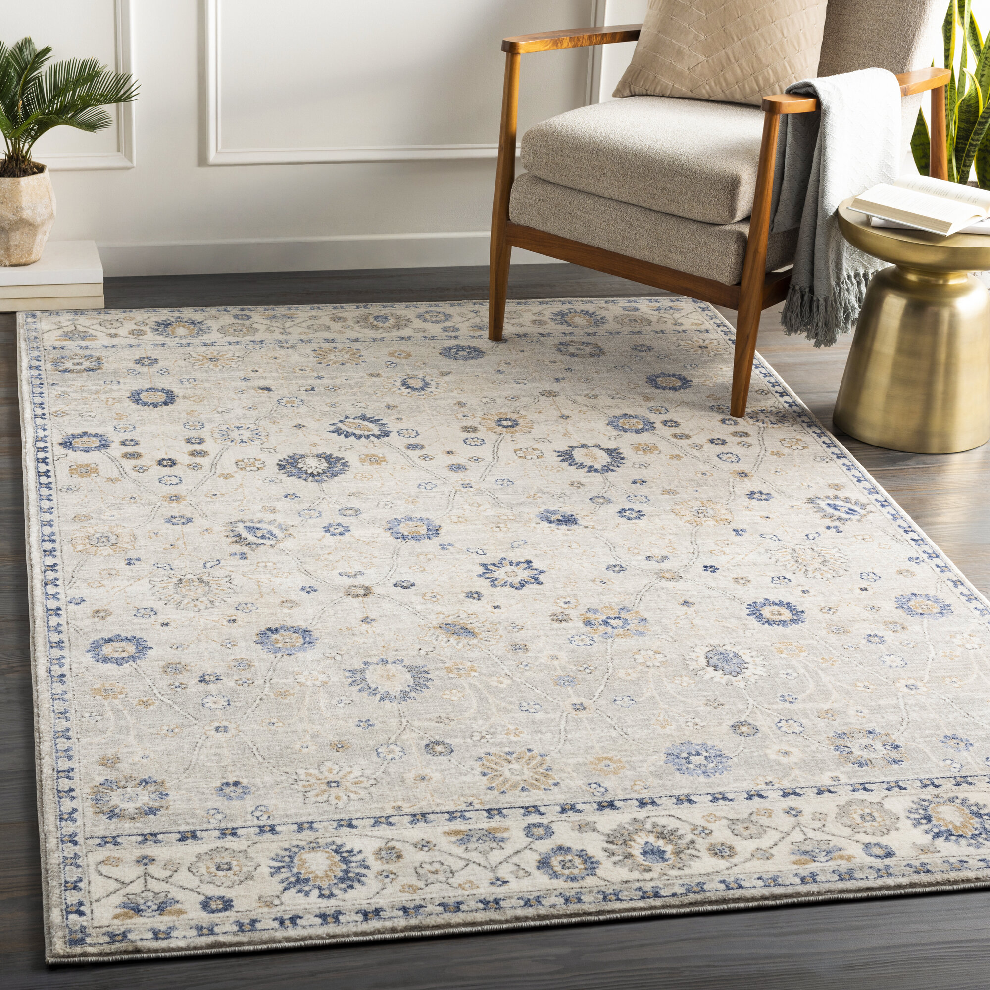 Charlton Home Ora Power Loom Ivory Navy Rug Wayfair