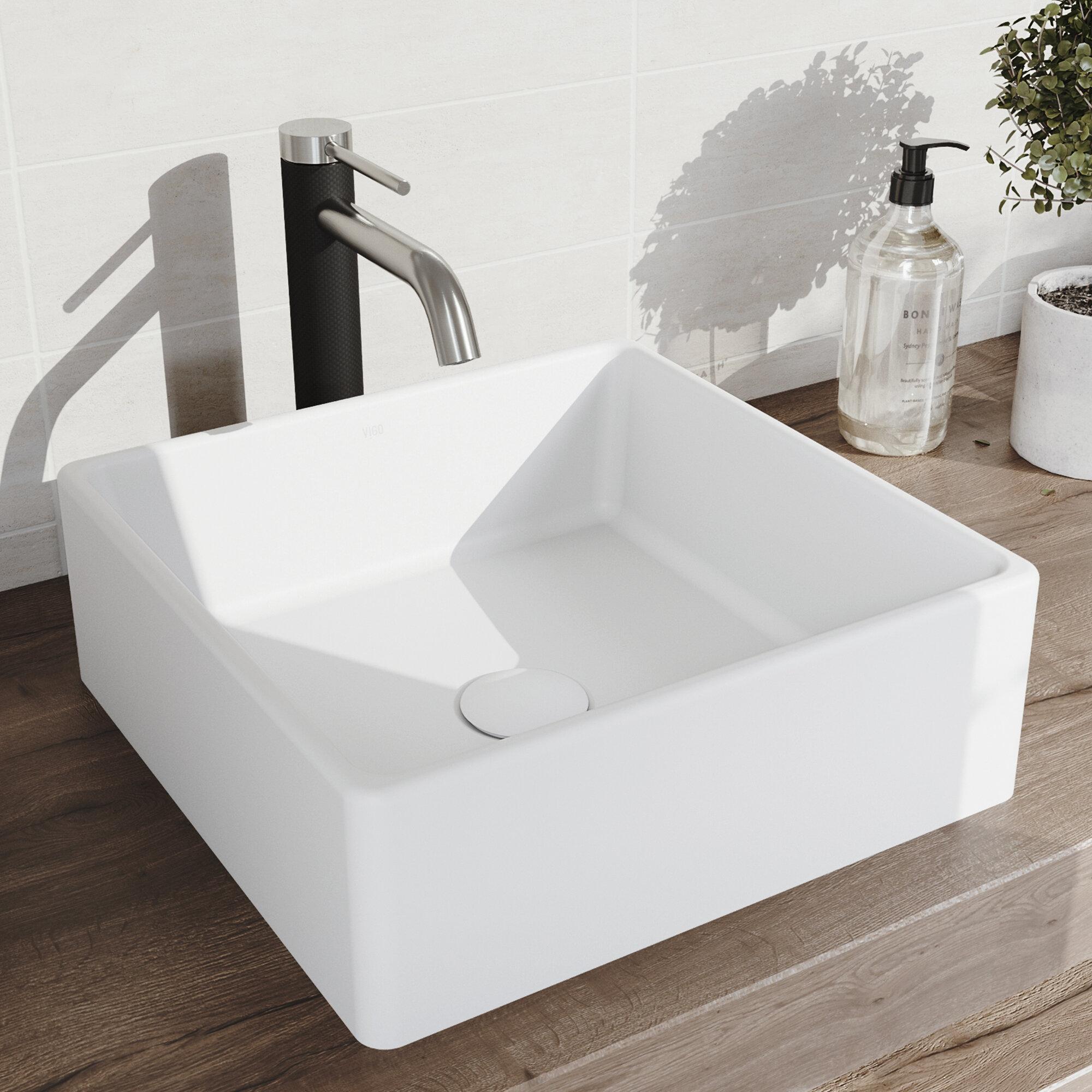 Vigo Dianthus Stone Square Vessel Bathroom Sink With Faucet Reviews Wayfair