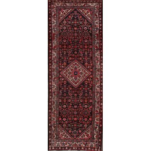 Low priced One-of-a-Kind Lemen Hamedan Persian Hand-Knotted Runner 3'6 x 9'4 Wool Black/Ivory/Red Area Rug By Isabelline