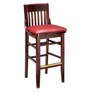 Amoroso Traditional Beechwood School House Upholstered Seat Bar Stool Red Barrel Studio