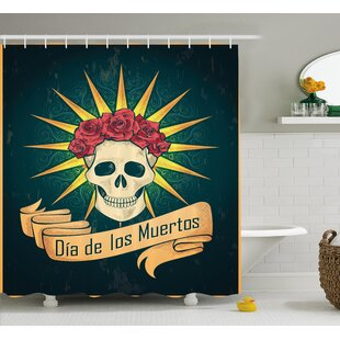 Leanne Day of The Dead Sugar Skull With Roses and Dia De Los Muertos Print Grunge Style Art Single Shower Curtain