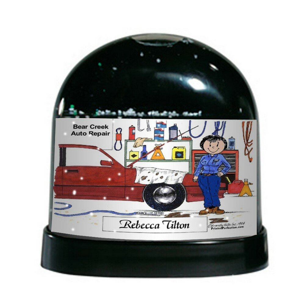 The Holiday Aisle Friendly Folks Cartoon Caricature Female Auto Mechanic Snow Globe Wayfair