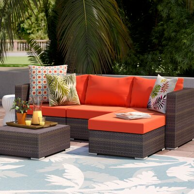 Asther 5 Piece Sectional Seating Group with Cushions Fabric: Orange by Beachcrest Home
