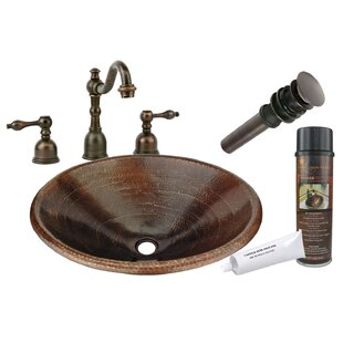 Master Bath Metal Oval Drop-In Bathroom Sink with Faucet ByPremier Copper Products