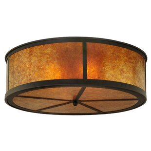 Meyda Tiffany Greenbriar Oak Smythe Craftsman 4-Light Flush Mount