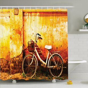 Retro Bike Rusty Cracked Wall Shower Curtain Set