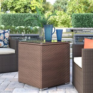 Lorenza Square Rattan Patio Side Table