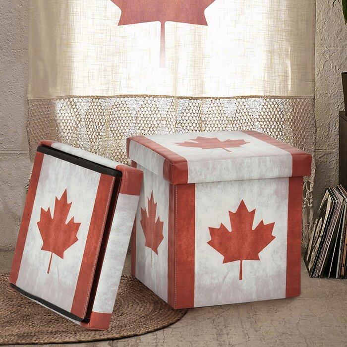 Tremendous Canada Flag Storage Ottoman Evergreenethics Interior Chair Design Evergreenethicsorg