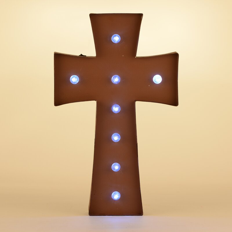 Glitzhome Rusty Marquee LED Lighted Cross Sign Battery Operated Wall ...