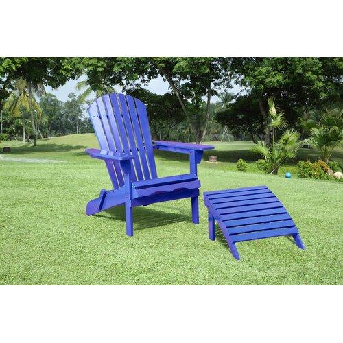 Rosecliff Heights Hammitt Solid Wood Folding Adirondack Chair With Ottoman Wayfair