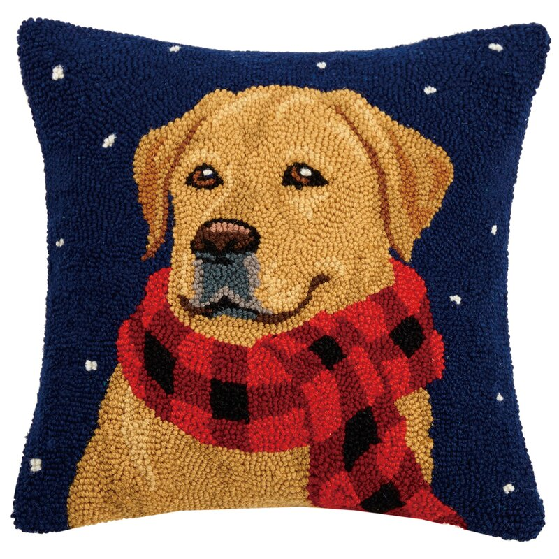 The Holiday Aisle Forsythe Golden Lab With Scarf Hook Wool Throw Pillow Wayfair