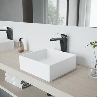 Buy luxury VIGO Matte Stone Square Vessel Bathroom Sink with Faucet By VIGO