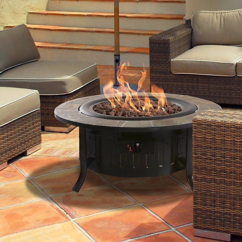 Coffee Table Fireplace bond bolen steel outdoor gas table top fireplace & reviews | wayfair