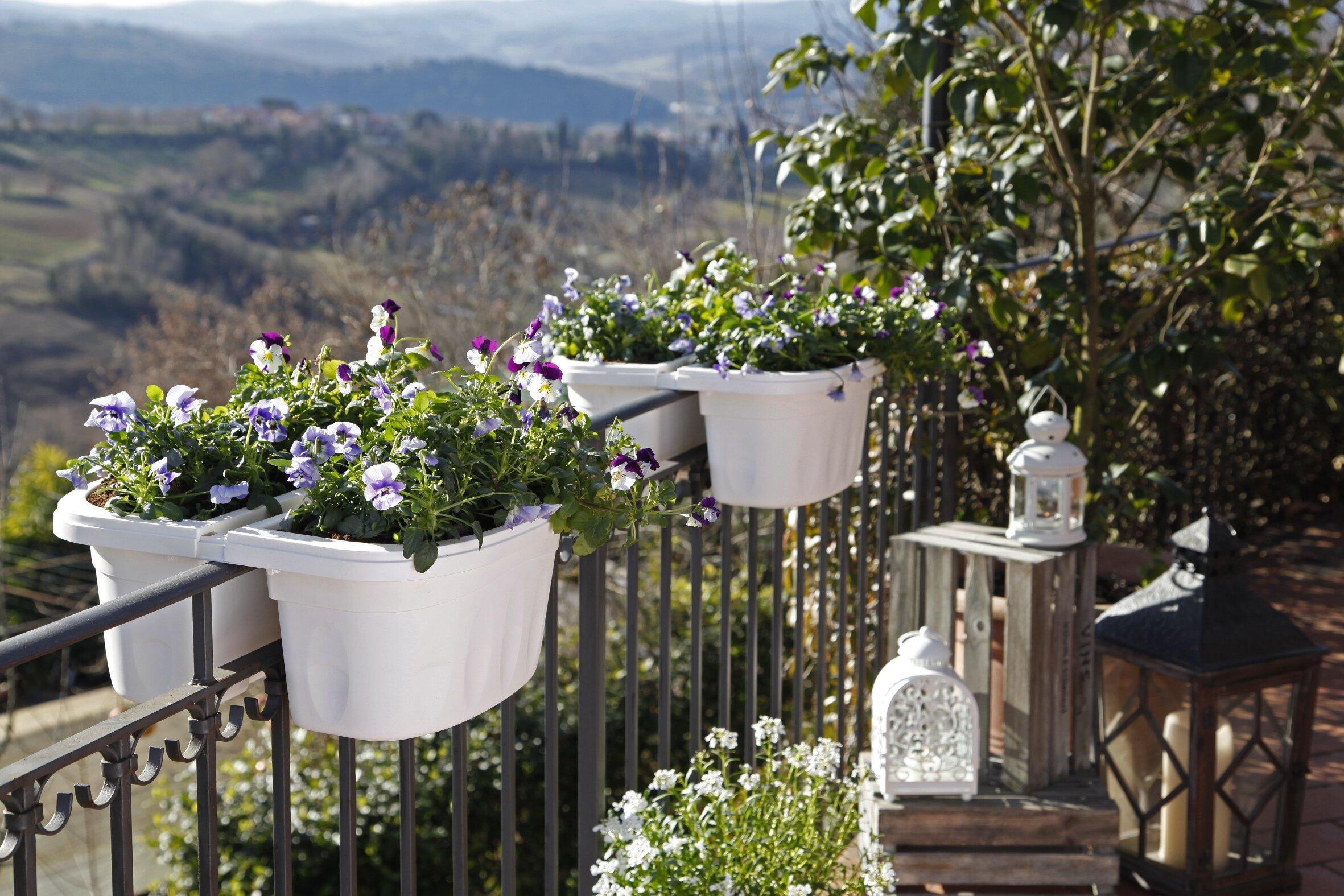 Picture of: Flower Plant Pots Baskets Window Boxes Unique Resin Flowers Pot Wall Fence Hanging Balcony Garden Patio Planter Decor Postamais Com Br