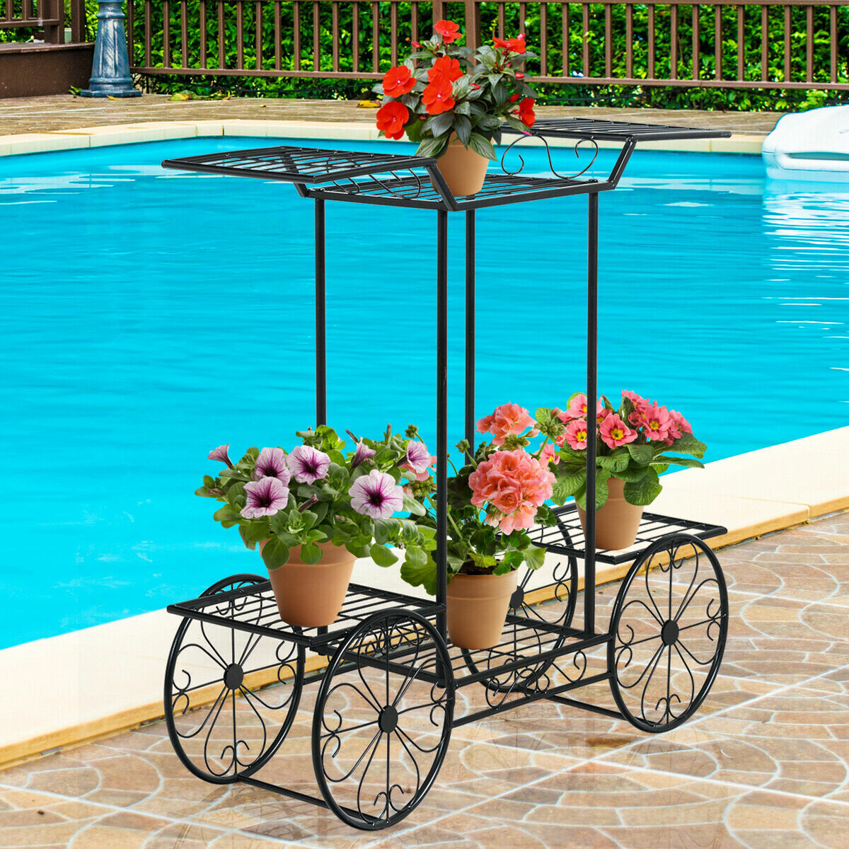 8 Tier Garden Cart Bicycle Plant Stand