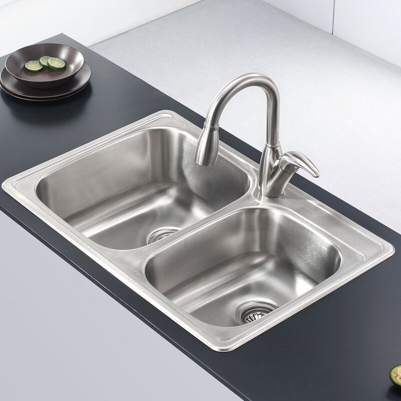 Stainless Steel 33 Quot L X 22 Quot W Double Basin Drop In Kitchen