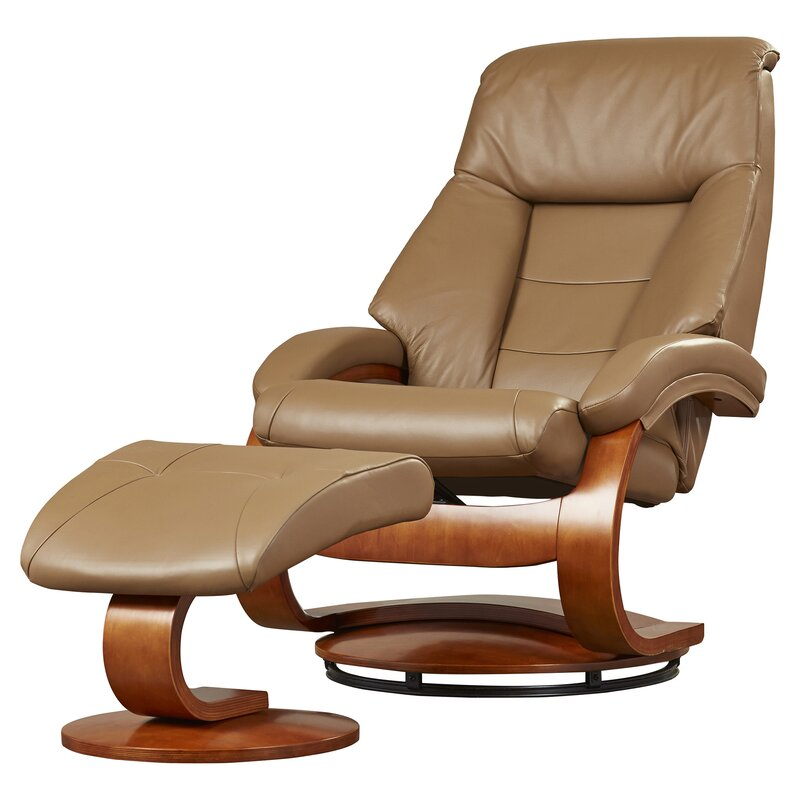 Flathead Lake Leather Manual Swivel Glider Recliner With Ottoman  sc 1 st  Wayfair & Red Barrel Studio Flathead Lake Leather Manual Swivel Glider ... islam-shia.org