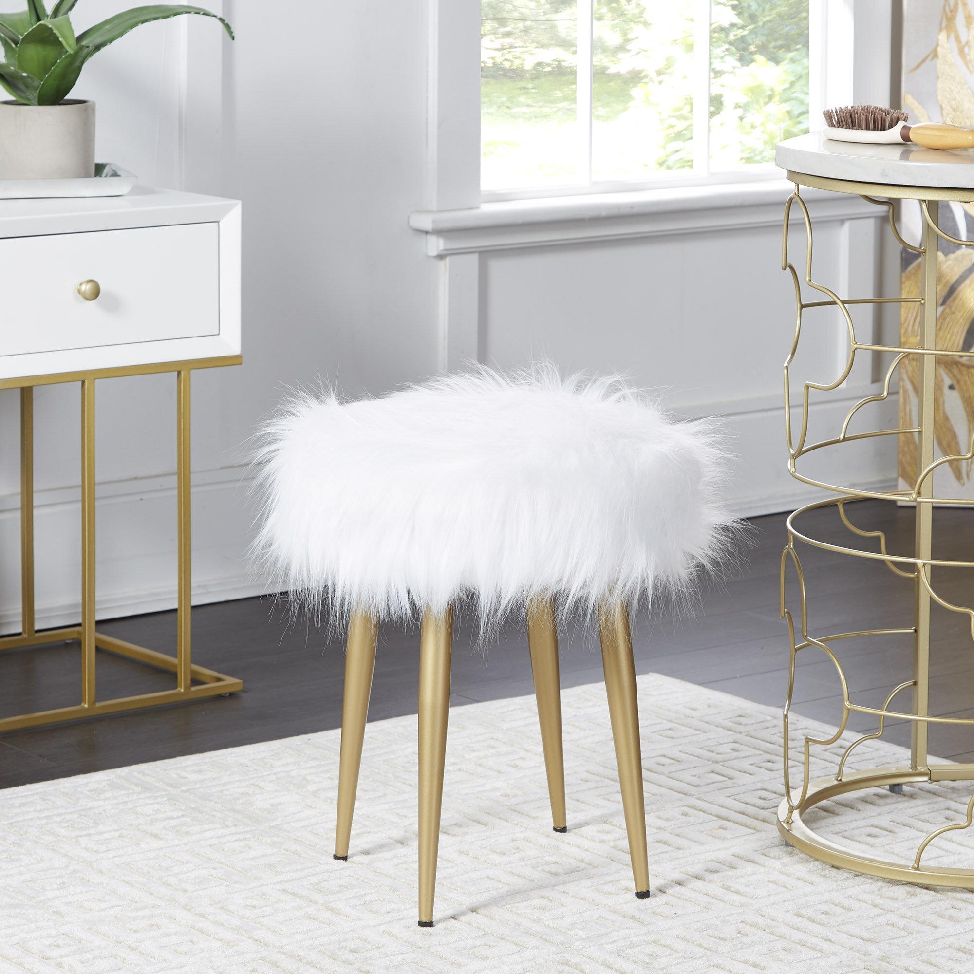 Phenomenal Roberto Round Fur Vanity Stool Evergreenethics Interior Chair Design Evergreenethicsorg